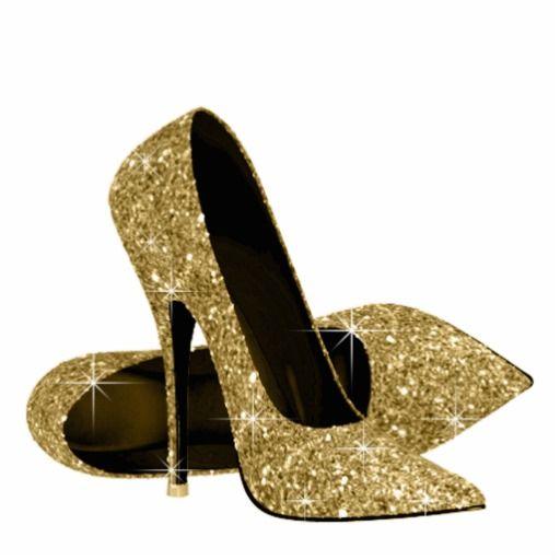Gold Glitter High Heel Shoes Cutout.