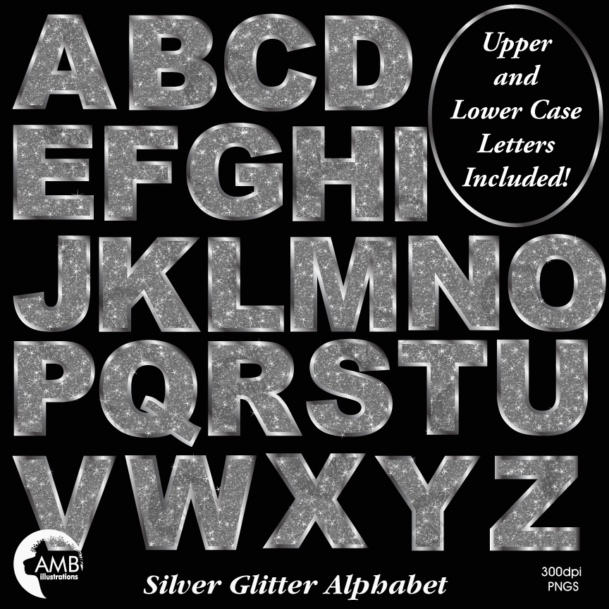 Silver Letter Clipart, Silver Glitter Alphabet Clipart, Bokeh Clip Art,  Scrapbooking, Graduation Letters, AMB.