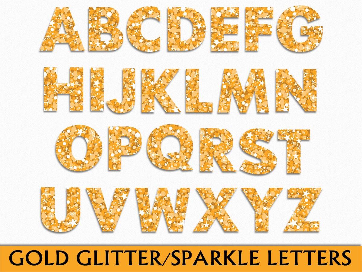 Gold Gitter / Sparkle Alphabet Clip Art Graphic Letters Clipart ABC  Scrapbook Digital Download Transparent PNG JPG Vector Commercial Use.