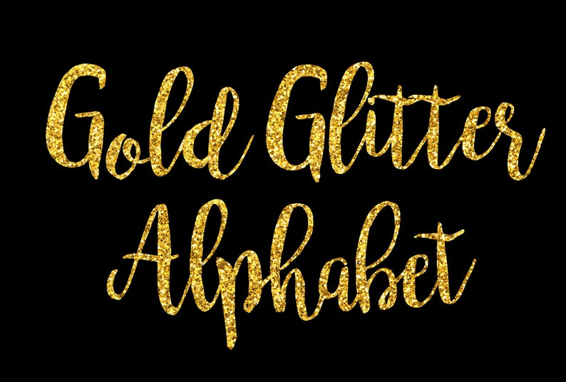 Gold Glitter Alphabet ClipArt Gold Glitter Letters Gold Glitter Font Gold  Alphabet Letters Gold Glitter Numbers 68 Elements Instant Download.