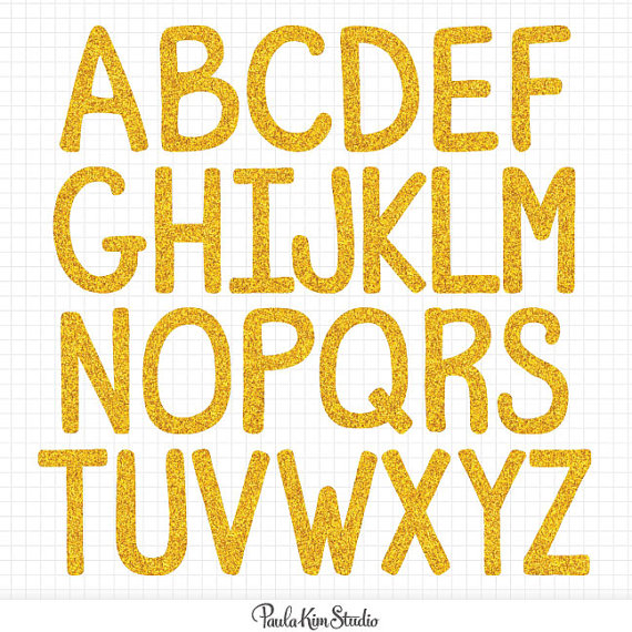Gold Alphabet Clipart Digital Letter Download Image Gold Glitter.