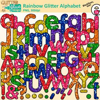 Rainbow Glitter Alphabet Clip Art {Glitter Meets Glue}.