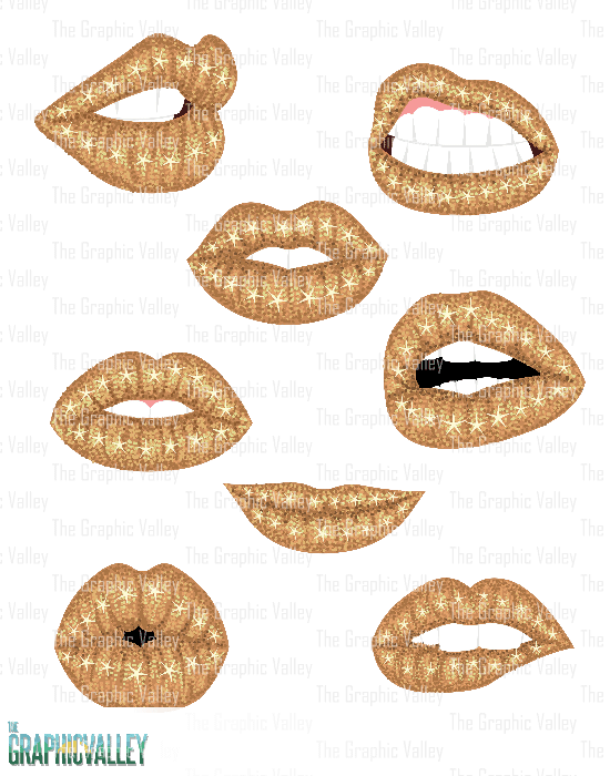 Gold Sparkle Lips Clipart, Woman Gold Glitter Lips PNG Clip.