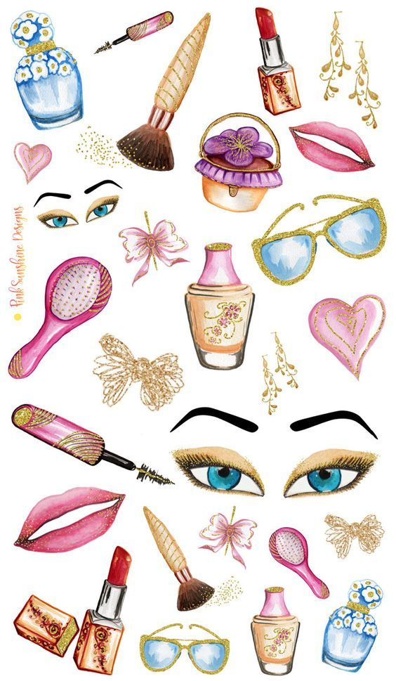 GLITTER and MAKEUP Clipart Stickers Planner Stationery by.