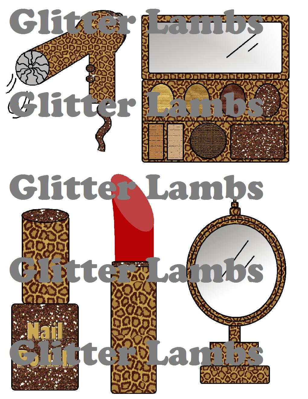 Glitter Lambs: Leopard Makeup Clipart.
