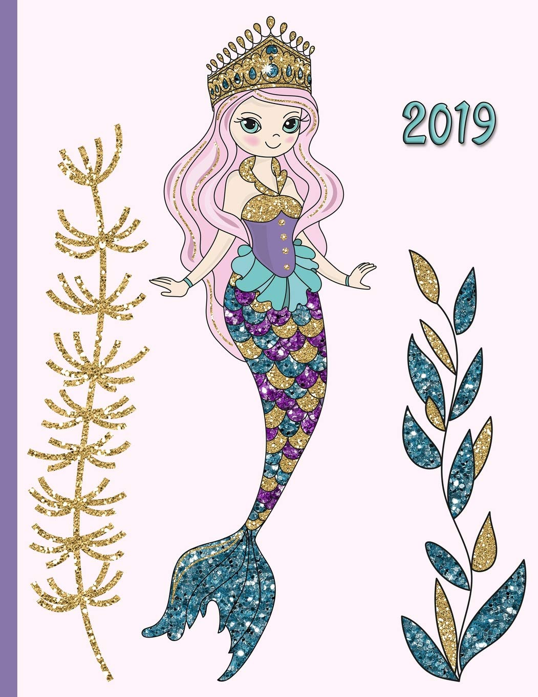 Glitter Mermaid in the Sea with Seaweed Kelp and Colorful Fish: 2019.
