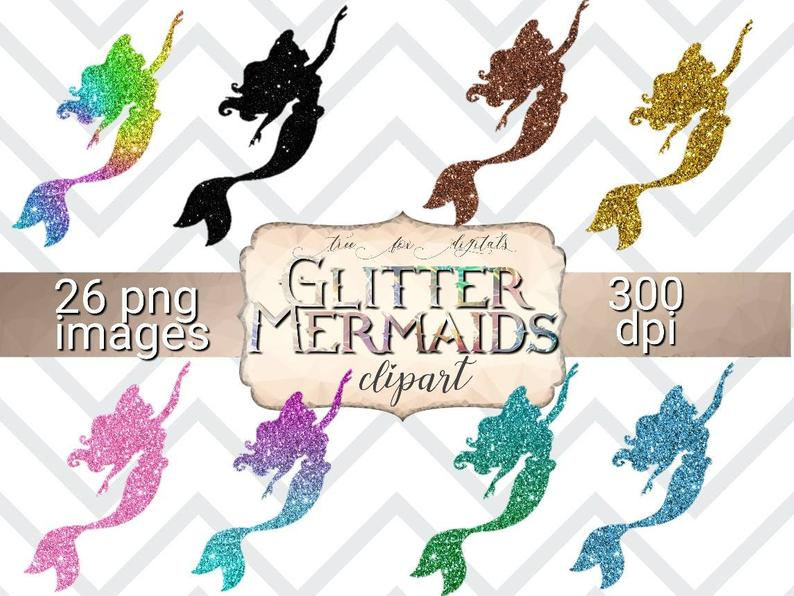Glitter Mermaid Clipart Digital Stickers, glitter mermaids design elements,  digital planner stickers mermaids, commercial use clipart, pngs.
