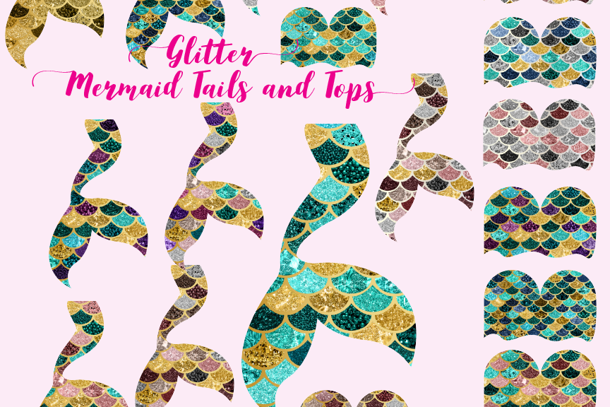 Glitter Mermaid tails and tops.