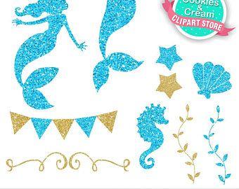 Gold and Blue Beautiful Ocean, Mermaid Clip Art, Cute Glitter.