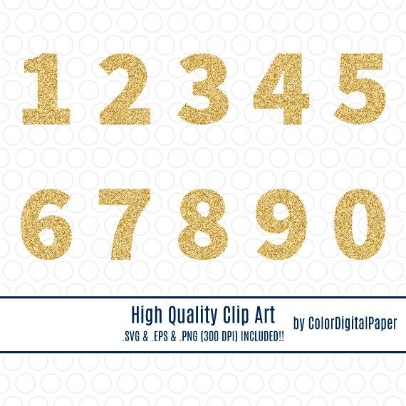 SVG Gold Glitter Number Clip Art, Commercial Use, Instant Download.