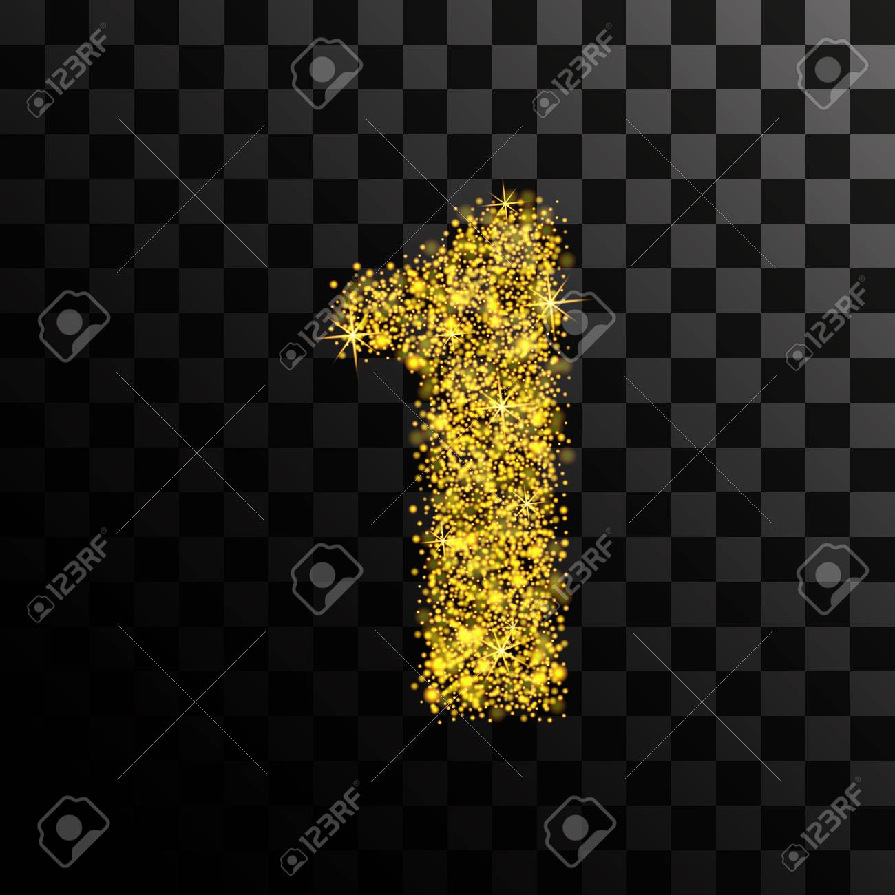 The number is one of the gold glitter and sparkle. Vector illustration...