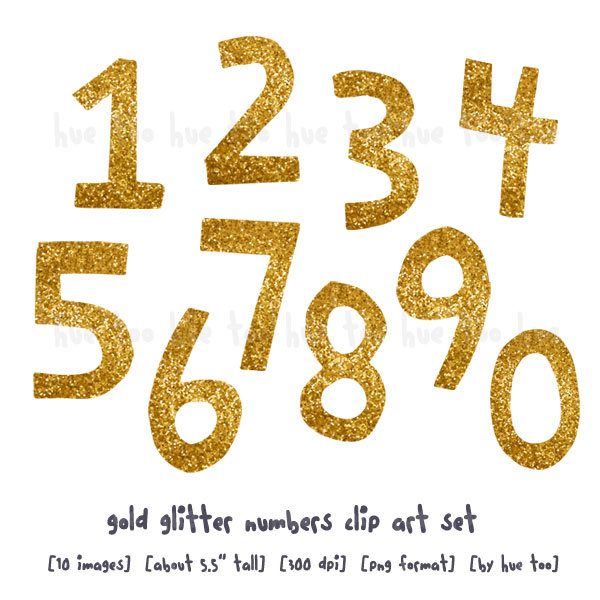 Glitter Gold Numbers Clipart.