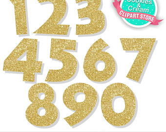 Glitter Numbers Clipart.