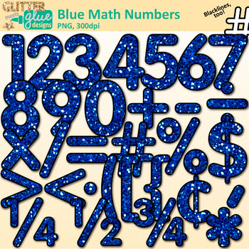 Blue Glitter Math Numbers Clip Art {Glitter Meets Glue}.