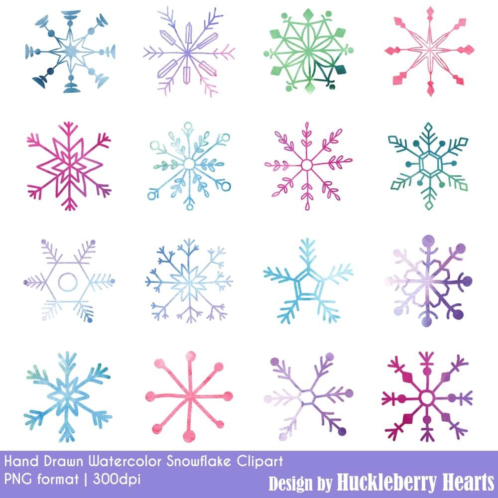 Glitter Snowflakes Clipart.