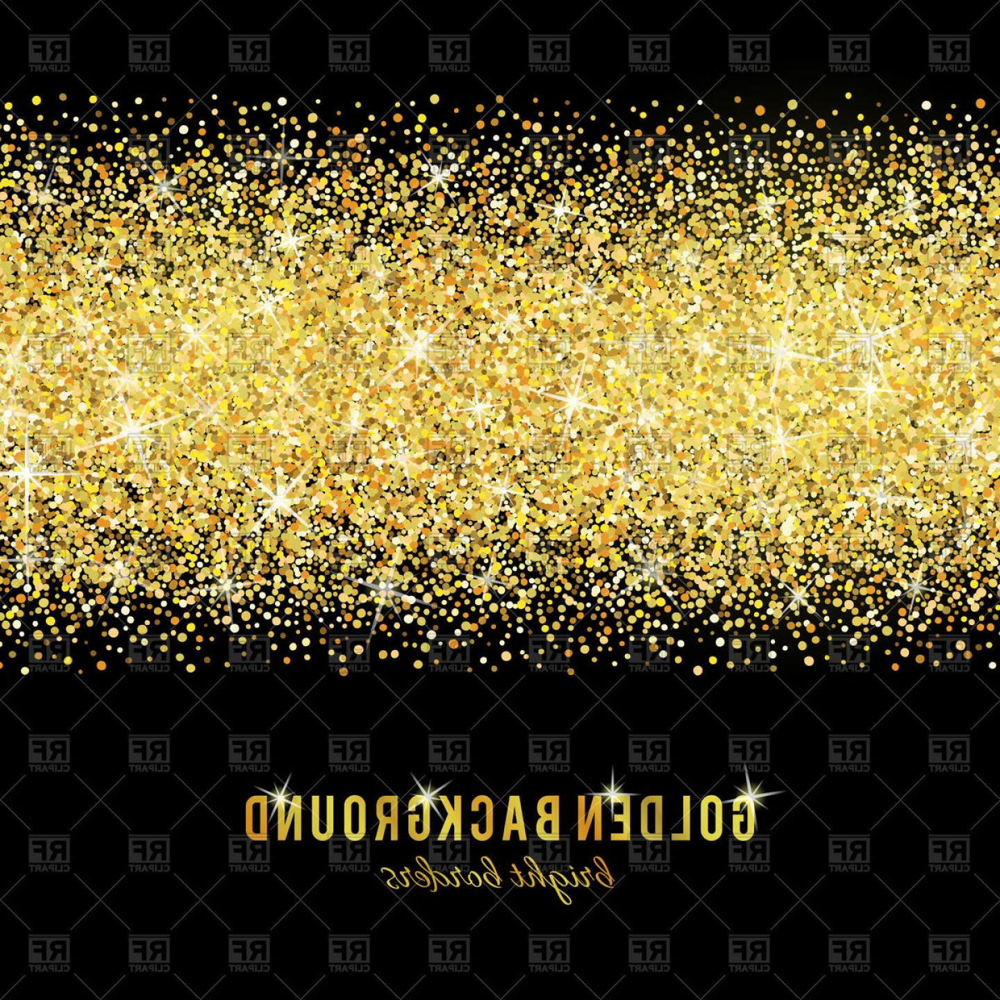 Gold Glitter Texture On Black Background Vector Clipart.