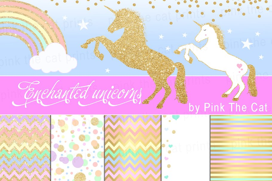 Unicorn Clipart Rainbow Glitter Gold.