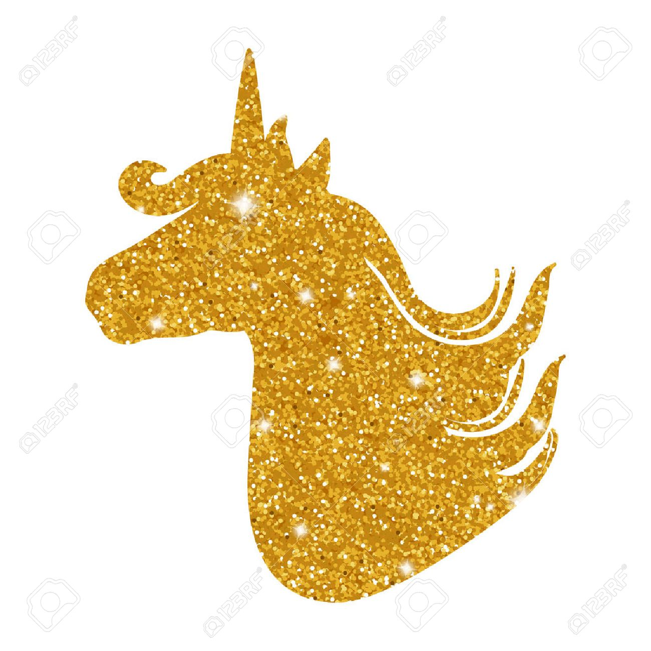 Colorful patch with unicorn gold glitter silhouette, bright colors.