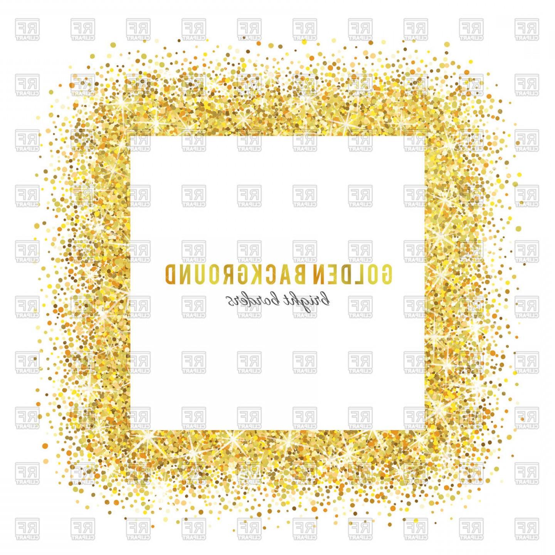 Gold Glitter Frame Vector Clipart.