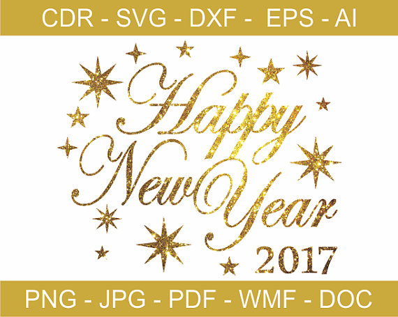 Happy New Year 2017 / Gold Glitzy Happy New Year Clipart by GDrawZ.