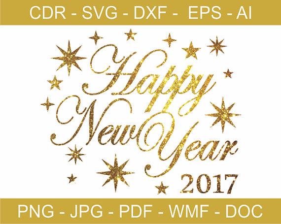 Happy New Year 2017 / Gold Glitzy Happy New Year Clipart by GDrawZ.