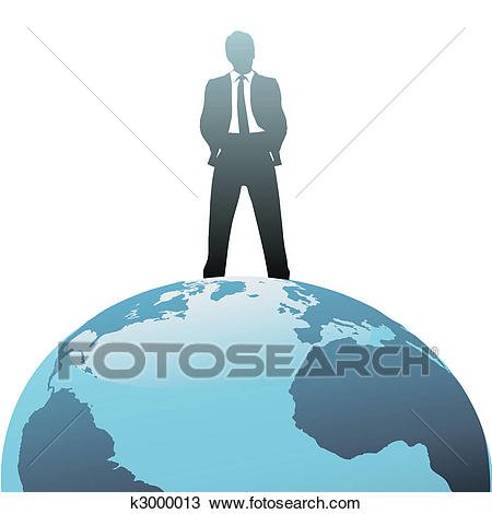 Global business man on top of the world Clipart.