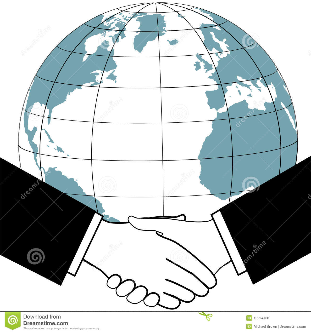 Global Business Trade Agreement Handshake Stock Vector.