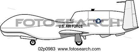 Clipart of global hawk side 02p0983.