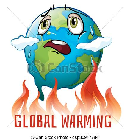 Vector of Global warming poster with earth on fire illustration.