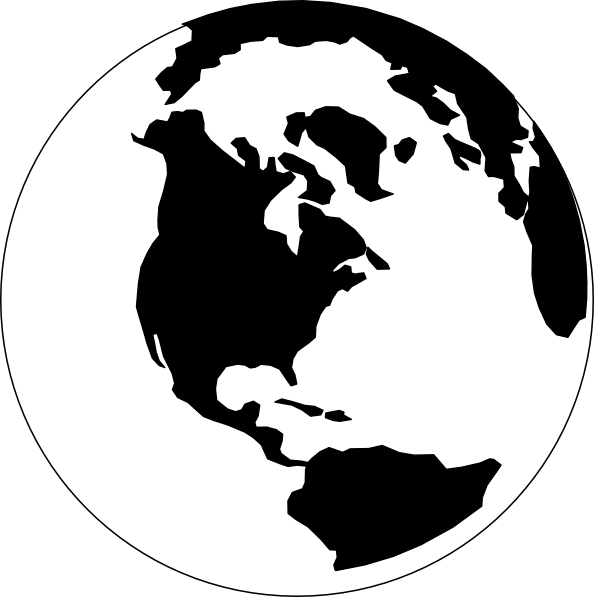 globe clip art black and white.
