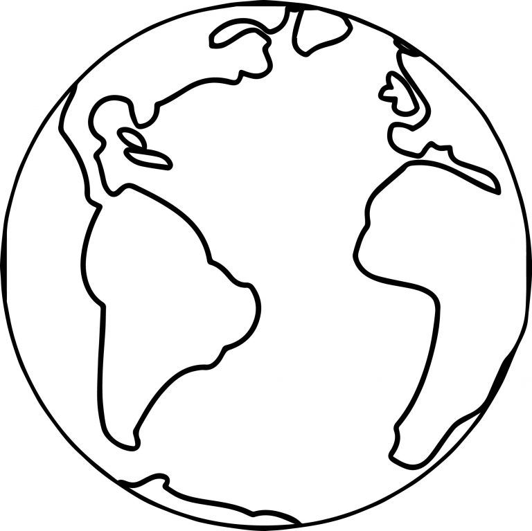 Earth Globe World Coloring Page.
