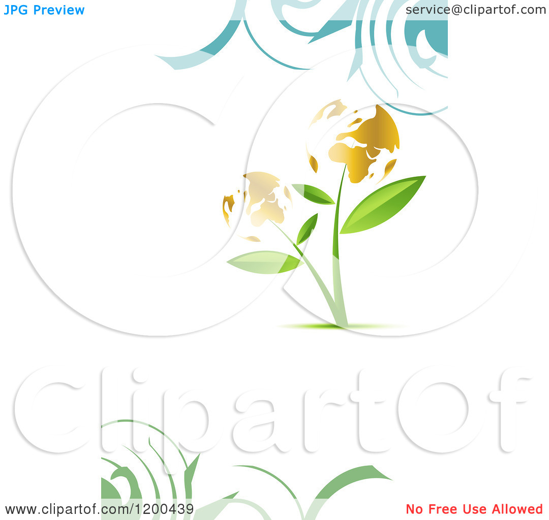 Clipart of a Plant with Golden Globe Flowers over White with.