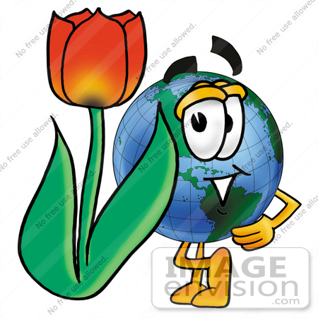 Clip Art Graphic of a World Globe Cartoon Character With a Red.
