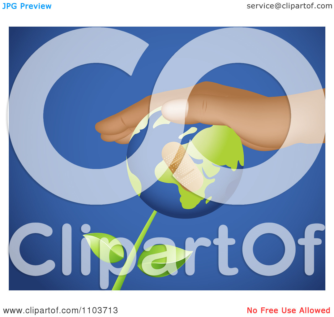 Clipart Hand Resting On A Bandaged Globe Flower On Blue.
