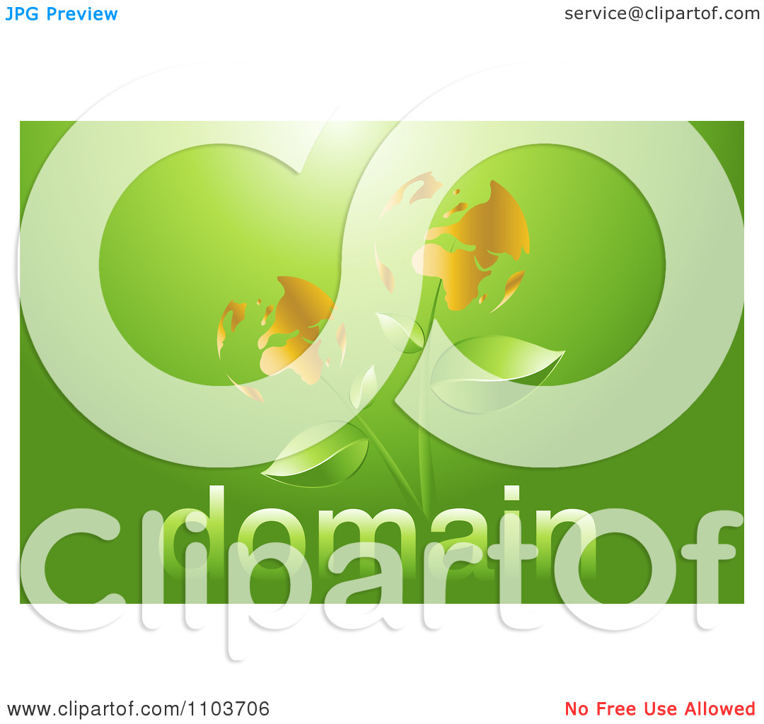 Clipart Globe Flowers On Green With Domain Text.