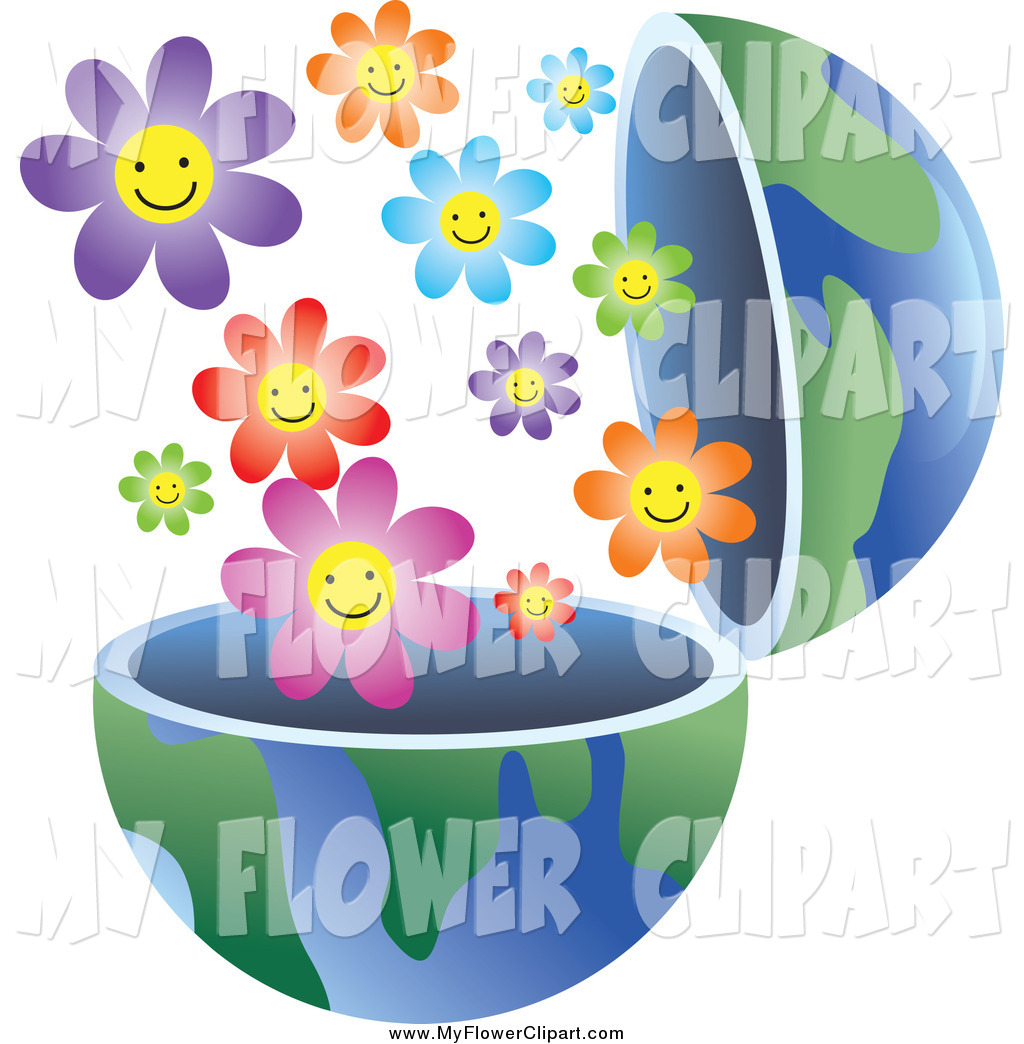 Clip Art of an Open Earth Globe with Smiling Flowers by Prawny.