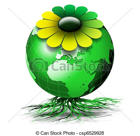 Stock Illustration of World bio flower.