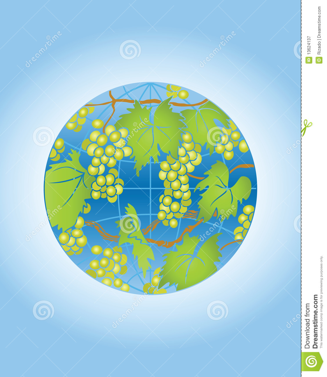 Globe With Grape Royalty Free Stock Photography.