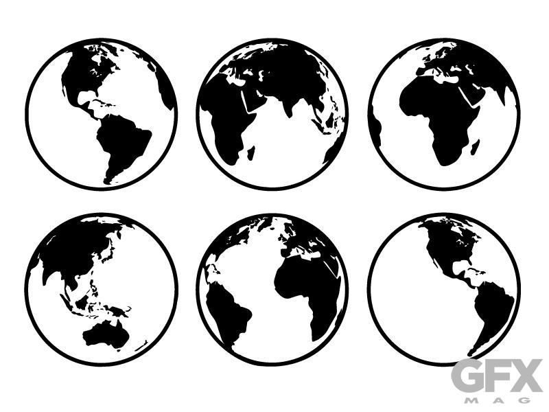 Vector Silhouette World Earth Globe Map Clip Art.