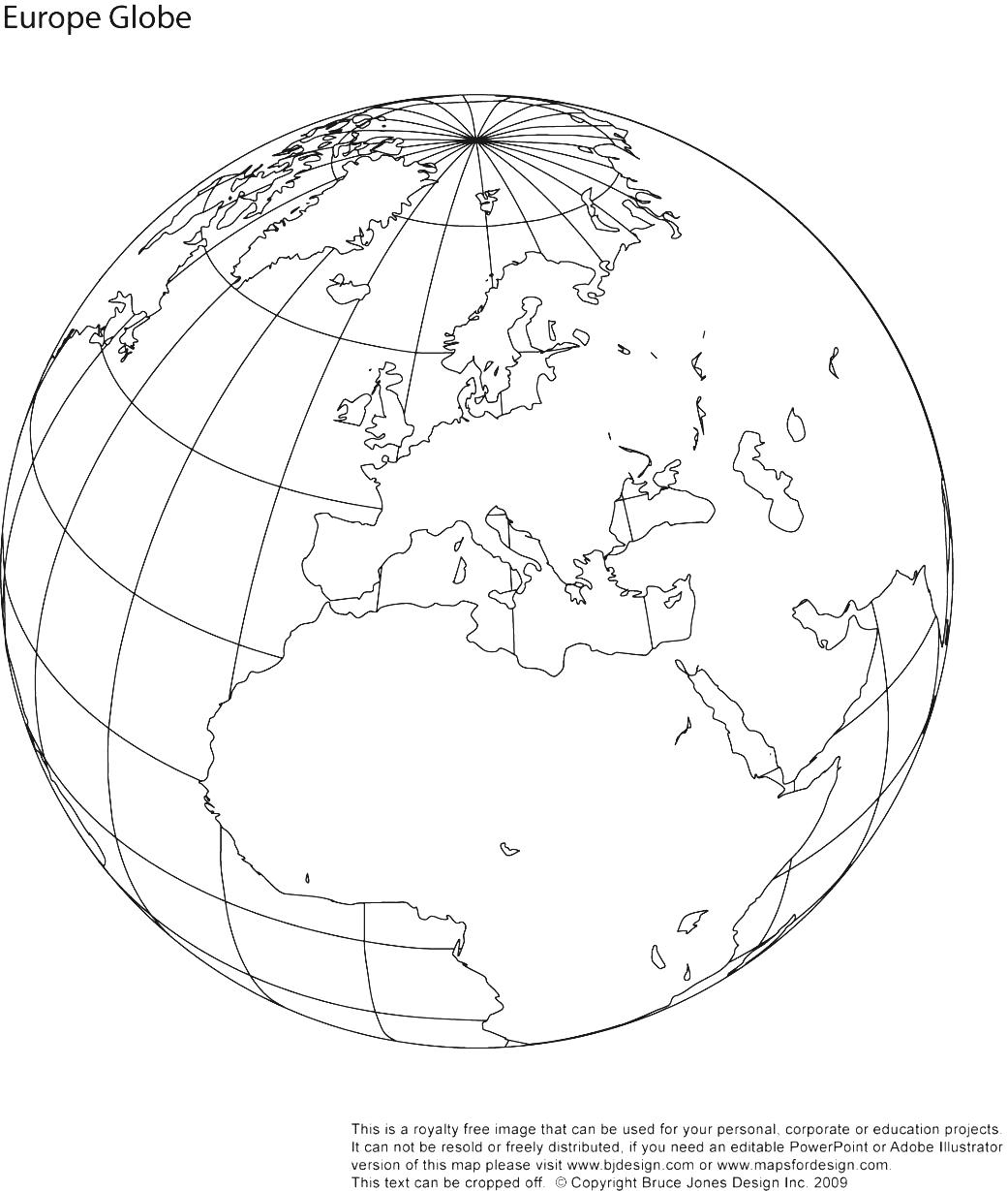 Outline Map Of Globe With Globe North America Clipart : Outline.