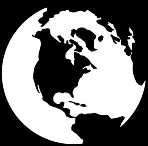 World Globe B&w Clip Art at Clker.com.
