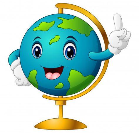 Ilustración de vector de globo de mundo de dibujos animados.