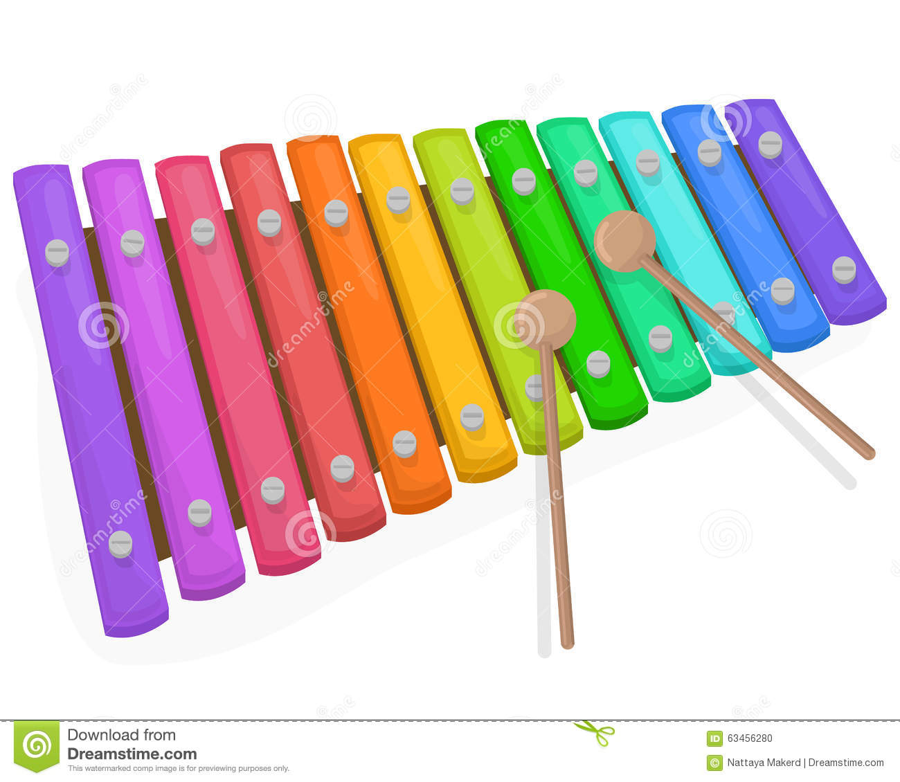 Colorful Xylophone With Mallets On A White Background Stock Vector.