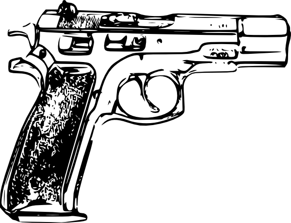 Glock Clipart Black And White.