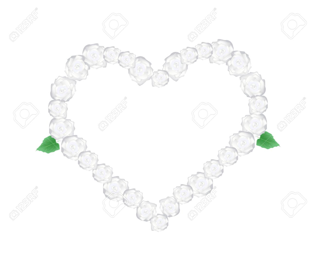 Love Concept, Illustration Of White Glory Bower Flowers Or.