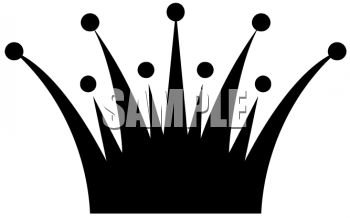 Simple Spiked Crown Clip Art Silhouette.