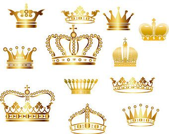 Crown Clipart // King Queen Crown Clip Art // Royal by BlueGraphic.