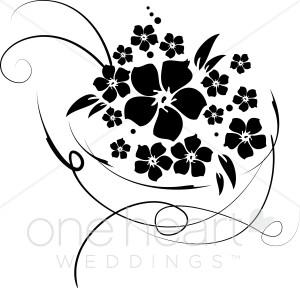 Clip Art Silhouette Flower Bouquet Clipart.