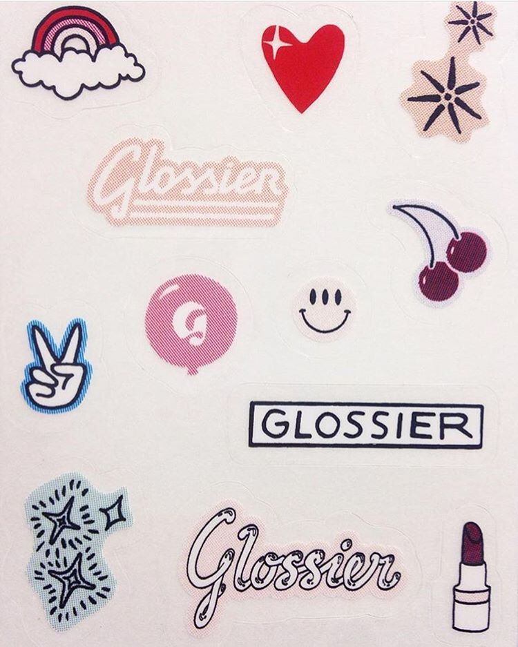 Glossier stickers in 2019.
