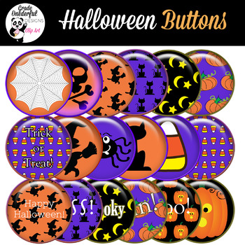 Halloween Glossy Button Set Clipart for Stickers, Buttons, Magnets.
